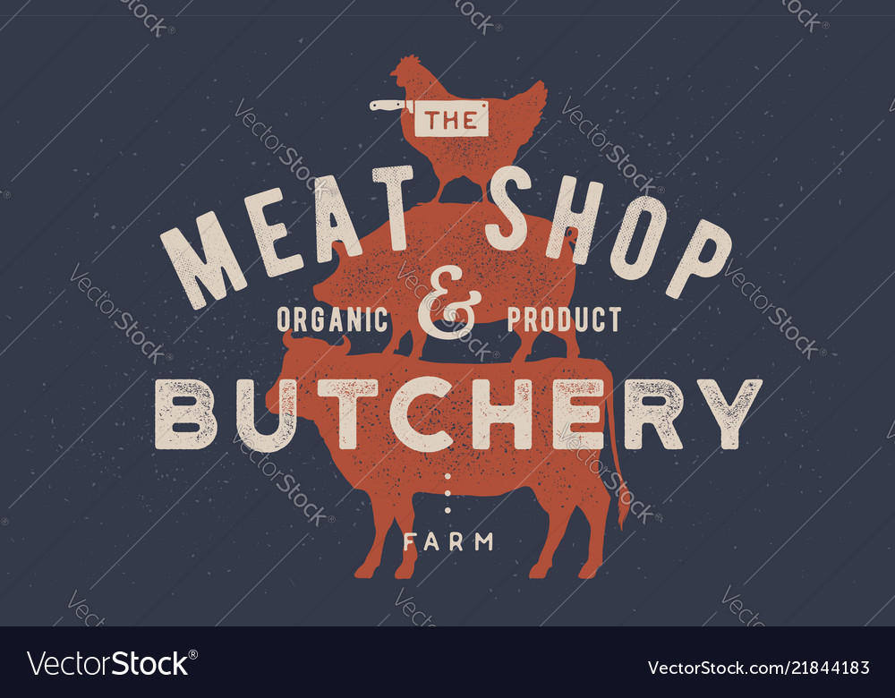 Poster for butchery meat shop cow pig hen