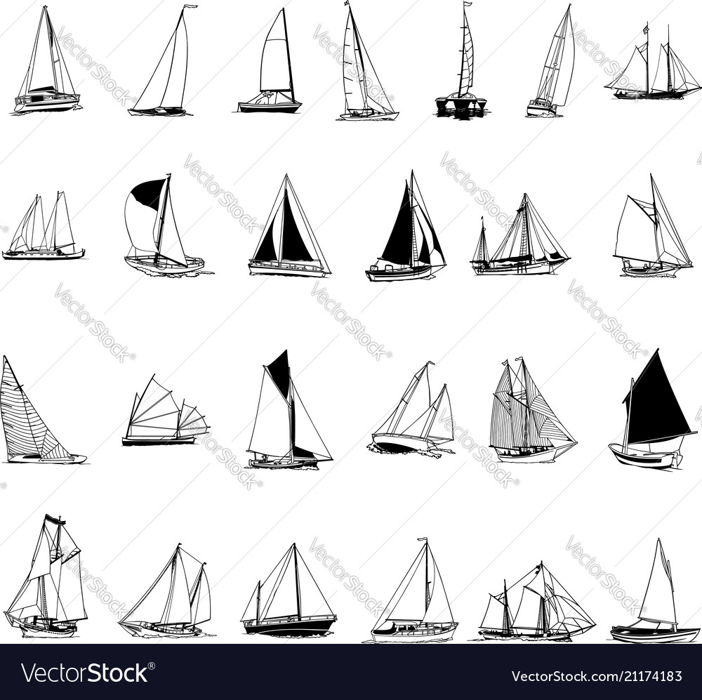 Sailboat collection cartoon clipart