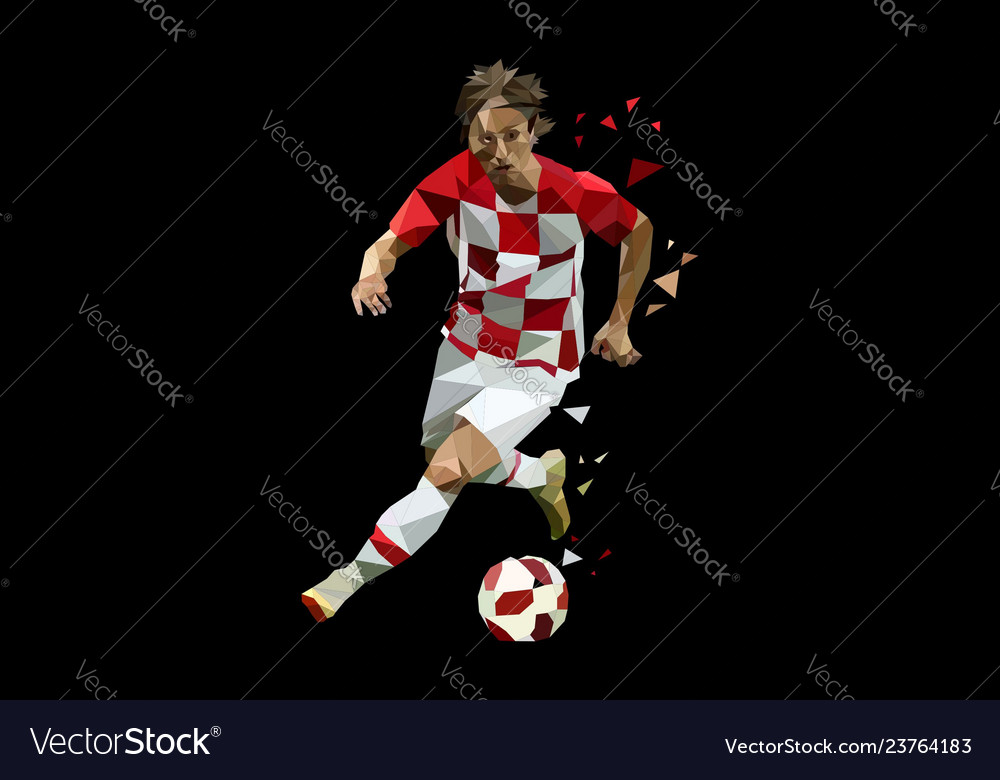 Soccer player dribbling ball polygonal