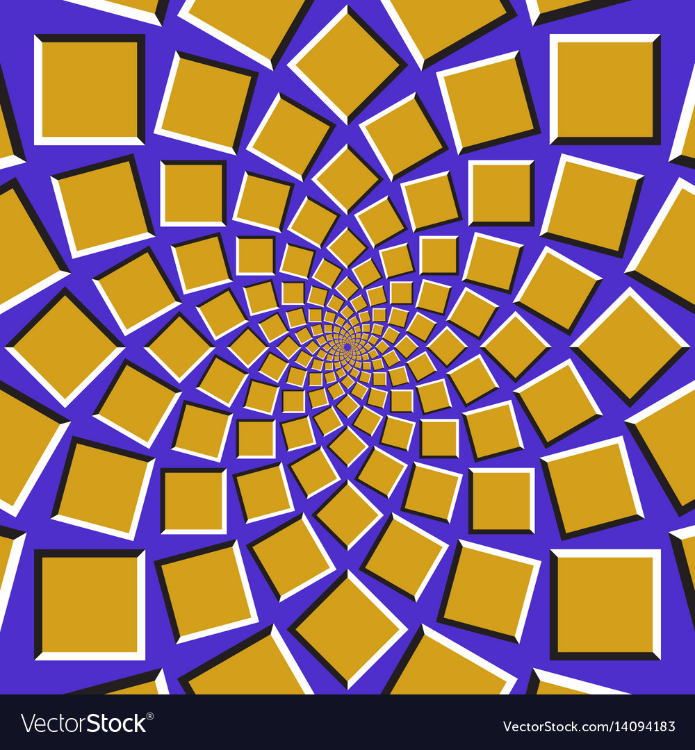 Squares are moving circularly toward the center