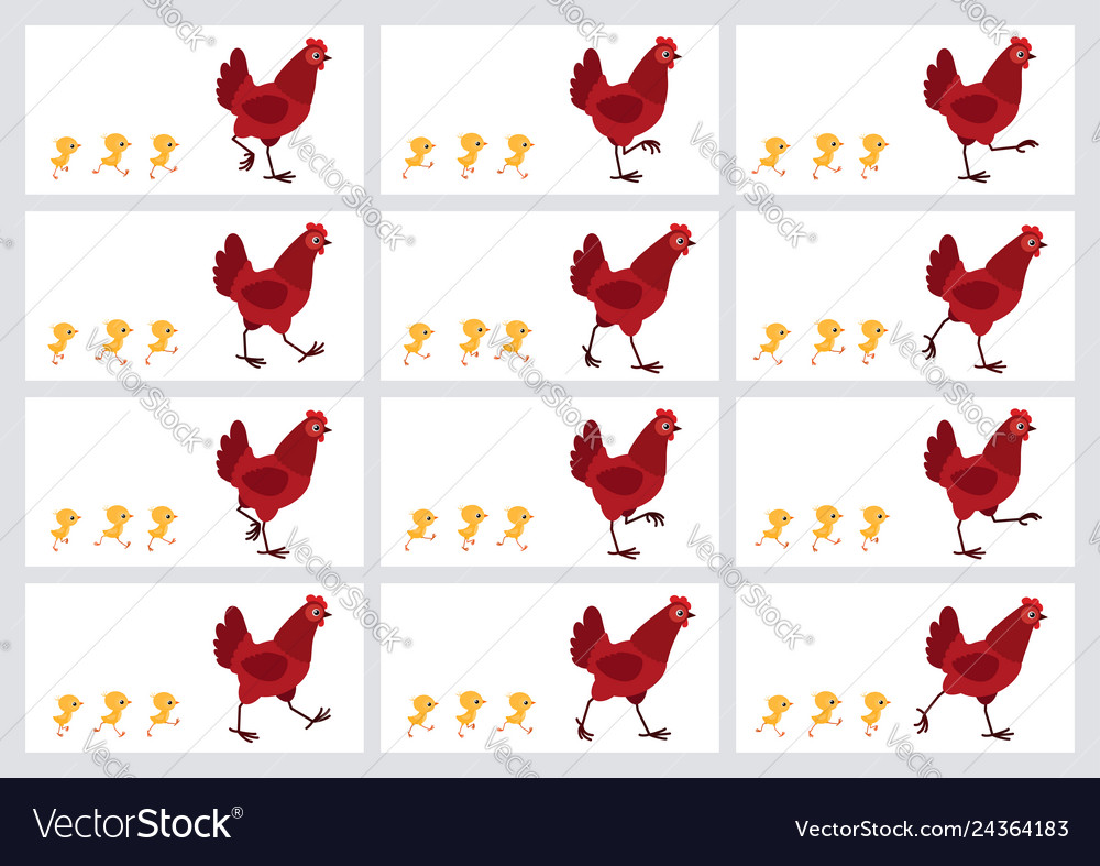 Walking red hen and chicks animation sprite sheet