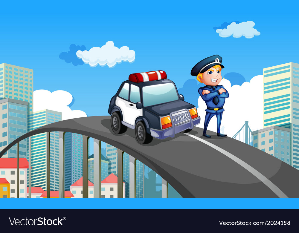 A patrol car and a policeman in the middle of the