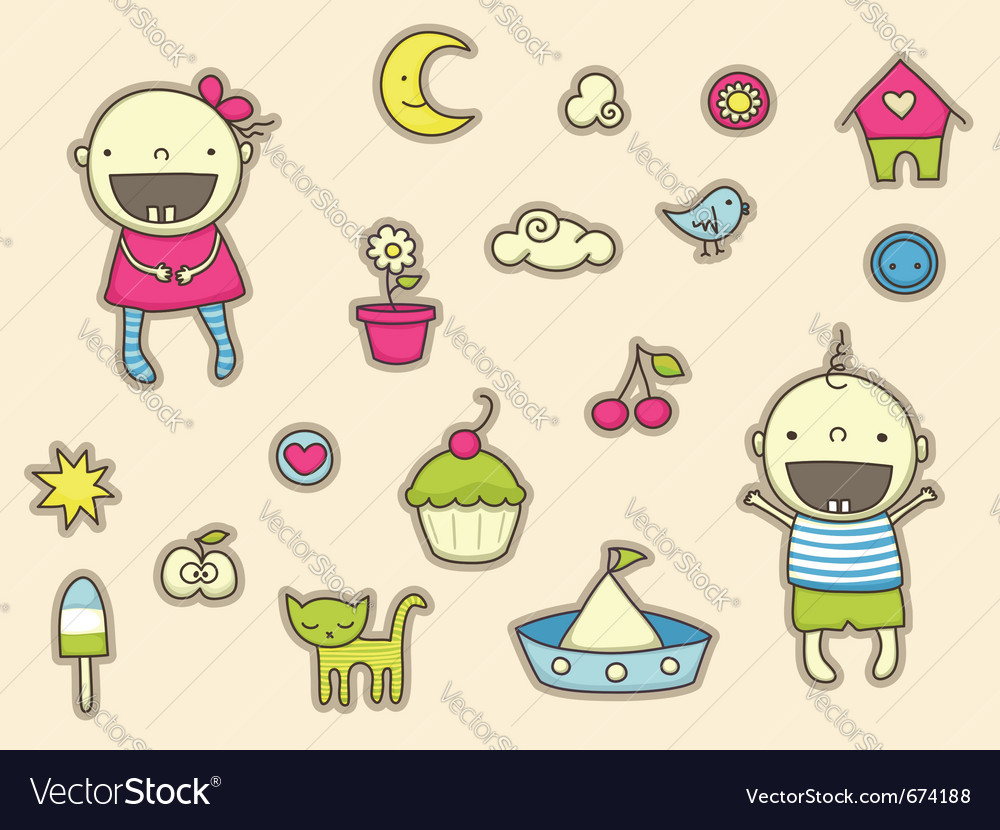 Cute stickers for children vector image