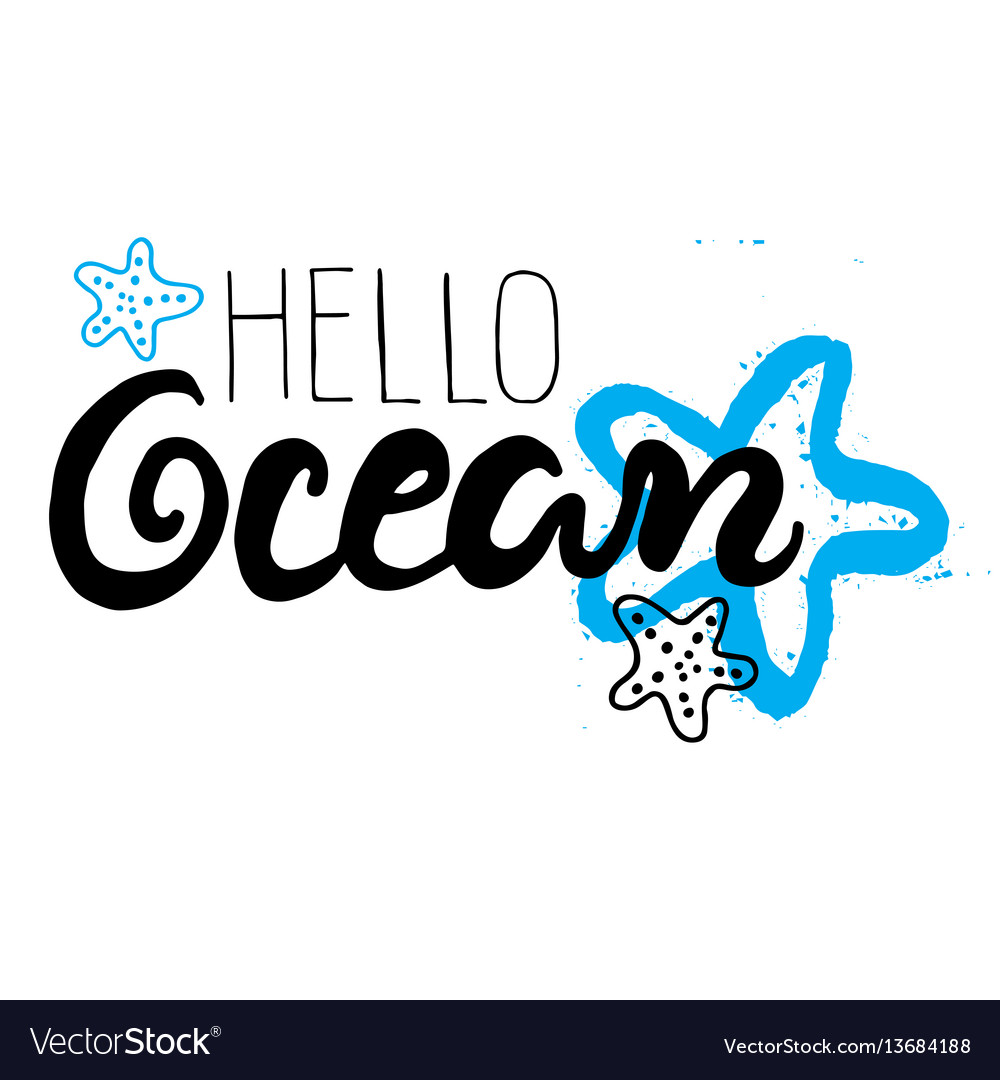 Hand drawn lettering card - hello ocean