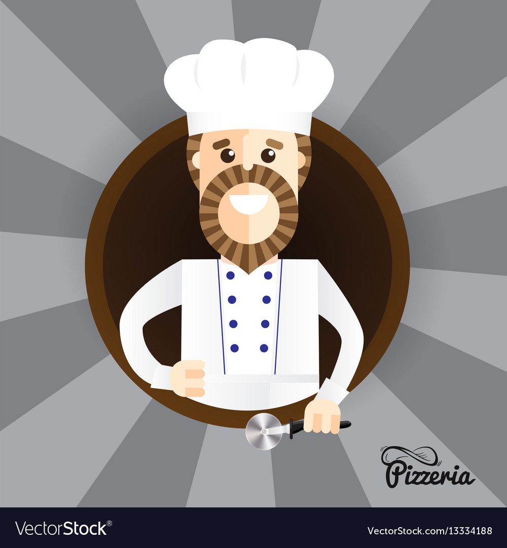Happy pizza maker making thumbs up sign trendy