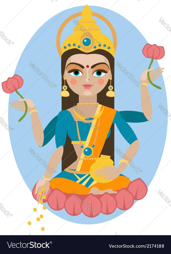 lakshmi deity royalty free vector image vectorstock
