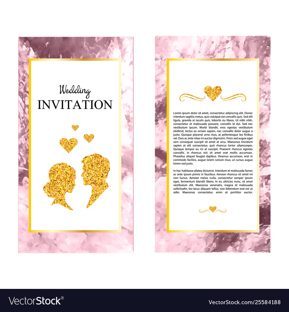 Marble wedding invitations thank you card rsvp vector