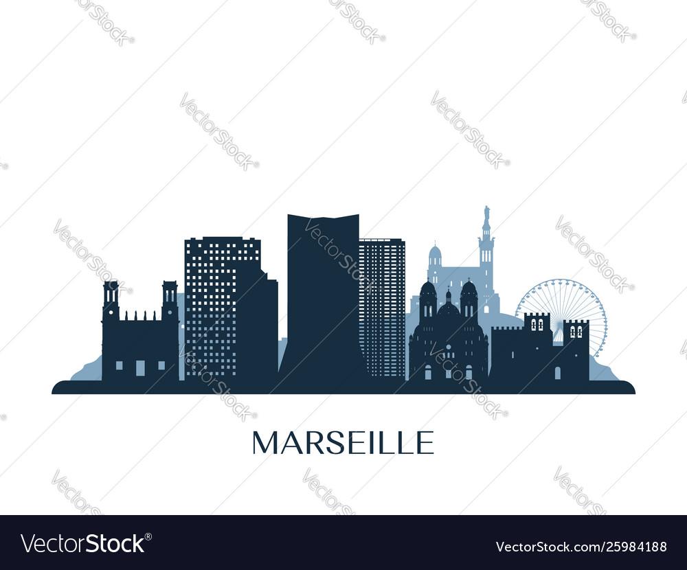 Marseille skyline monochrome silhouette