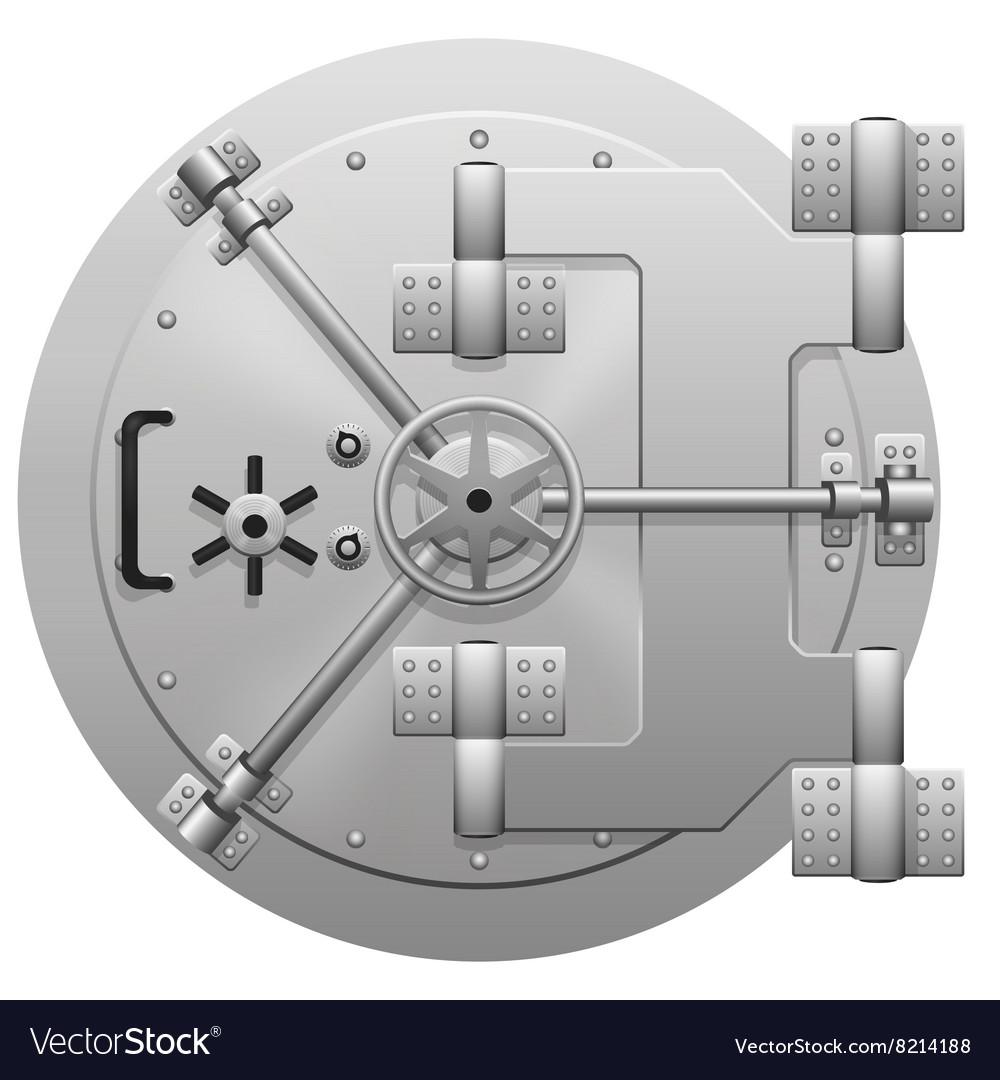 Metallic bank vault door isolated on white