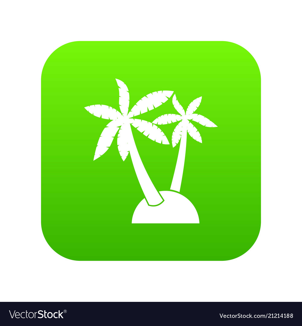 Palm trees icon digital green