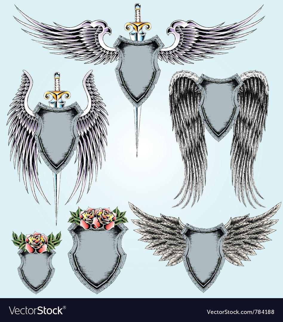 Royal emblem shield set vector image