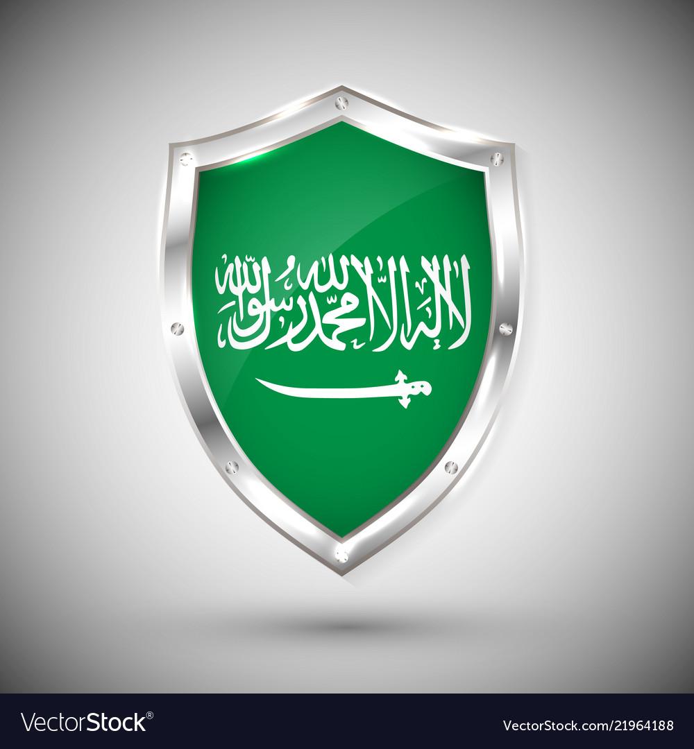 Saudi arabia flag on metal shiny shield