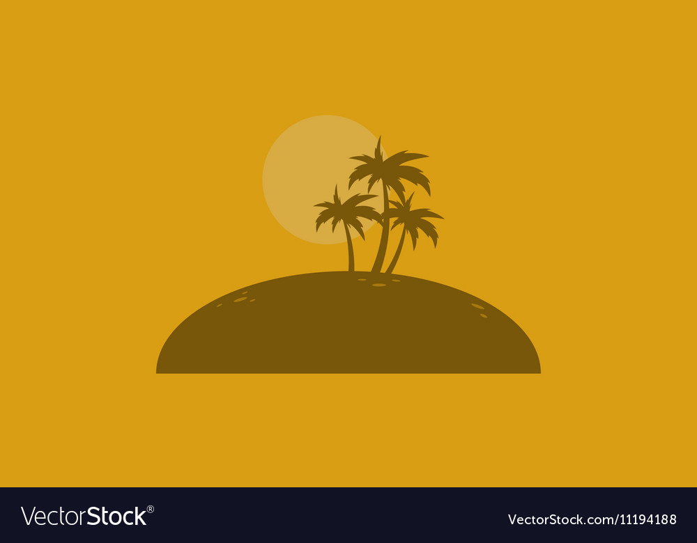 Silhouette of palm on the islands