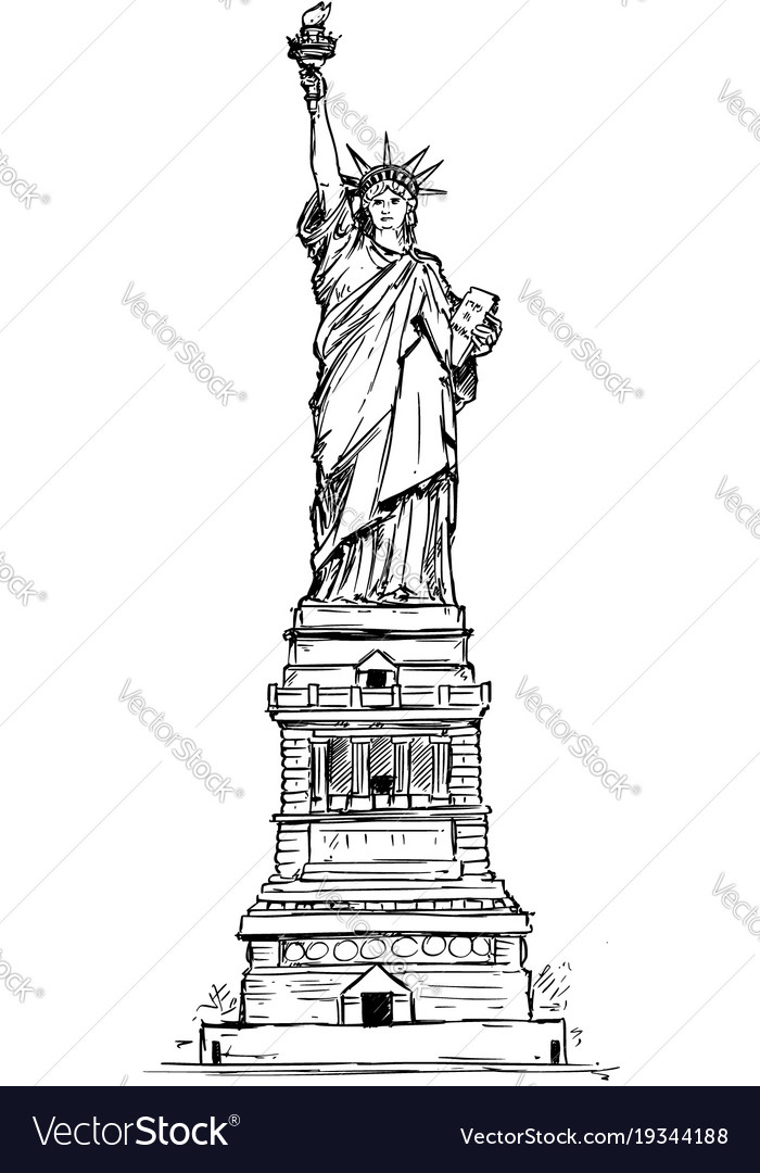 Statue of liberty hand drawing