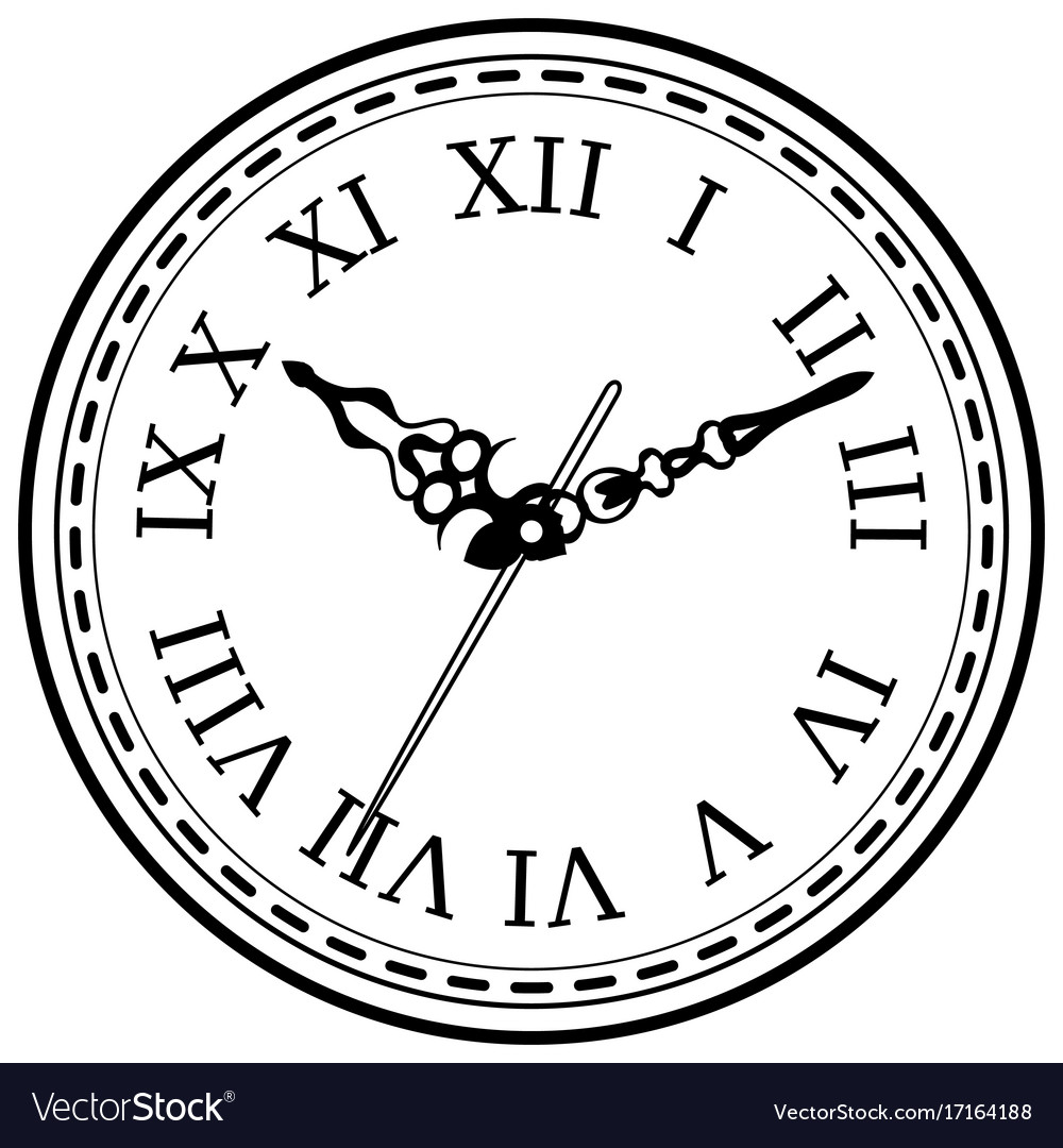 Vintage clock hand drawn sketch isolated vector image