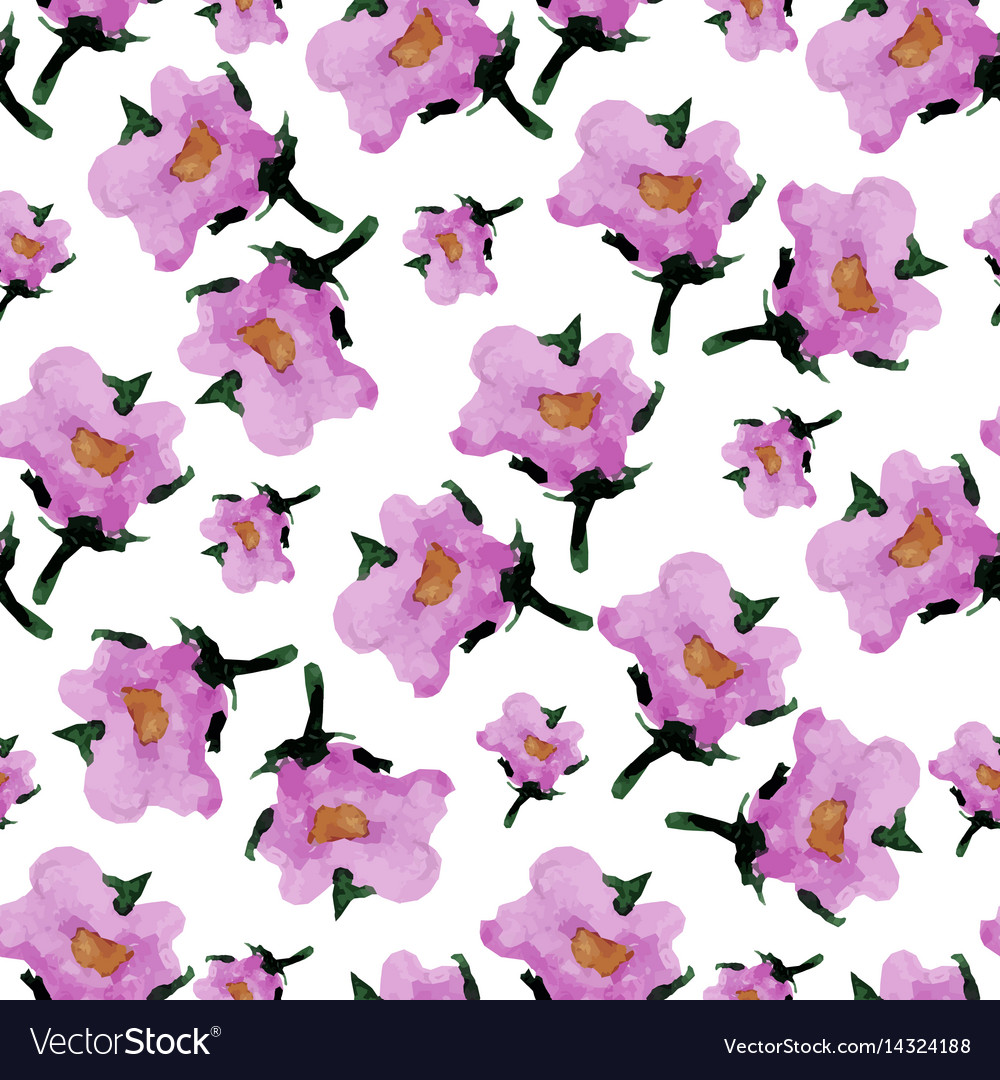 Watercolor floral seamless pattern with flowers