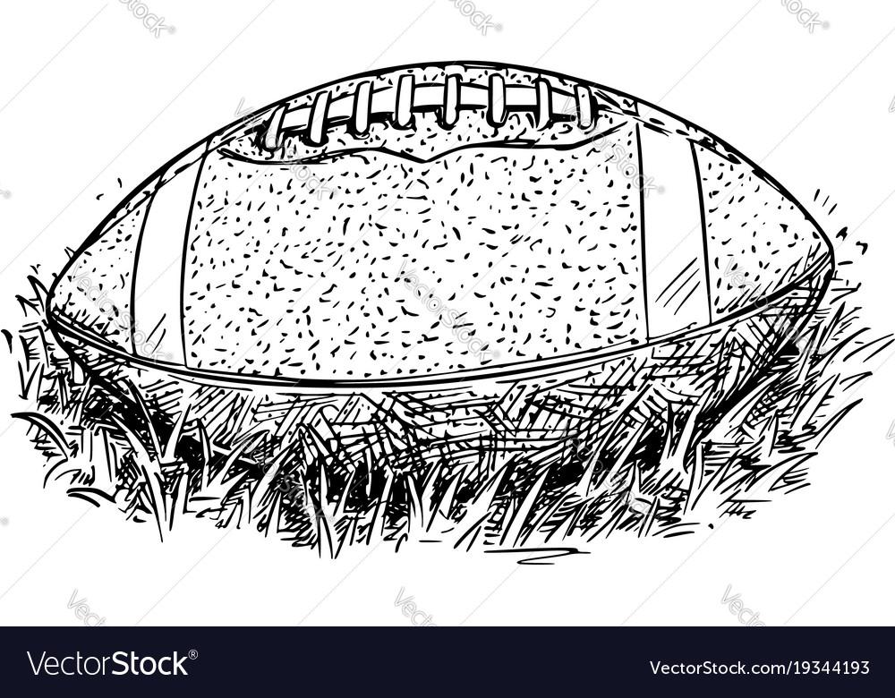 American Football Ball Hand Drawing Royalty Free Vector
