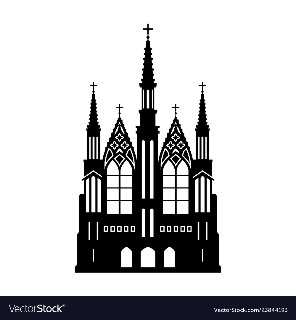 Black silhouette of gothic church