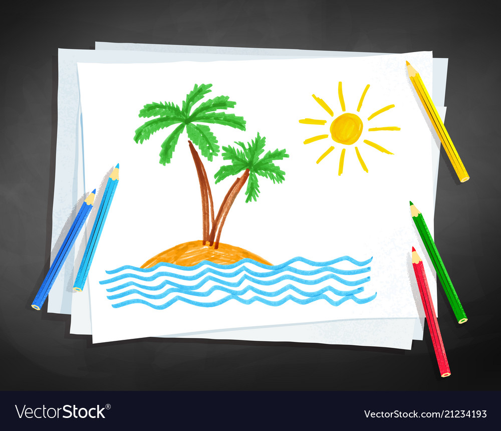 Child drawing palm trees vector