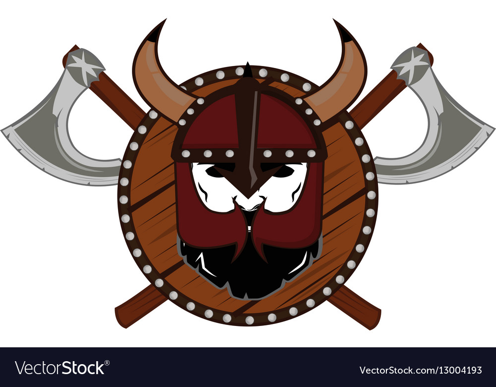 Emblem Viking warrior skull logo