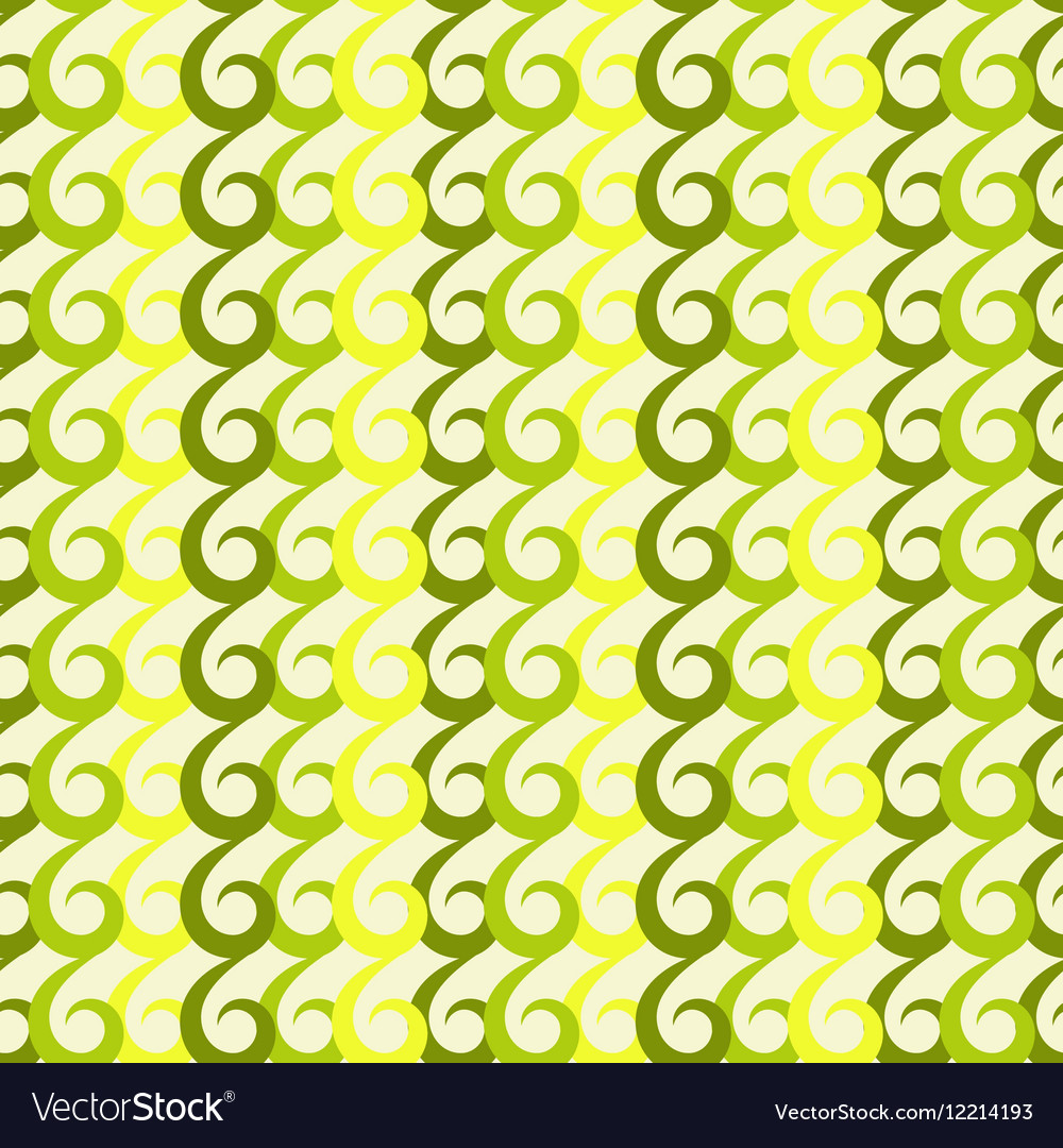 Green swirls seamless pattern vector image