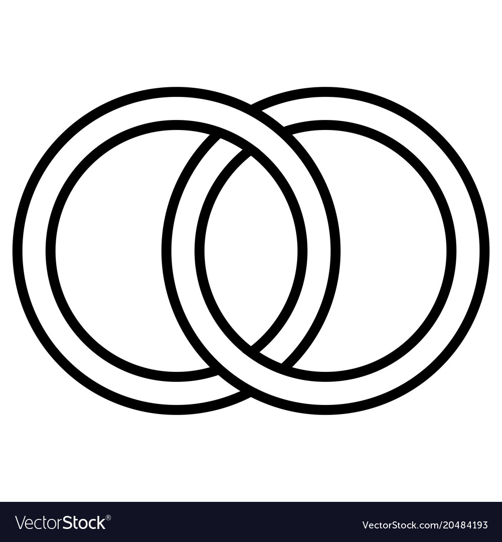 Interlocking circles icon sign outline rings