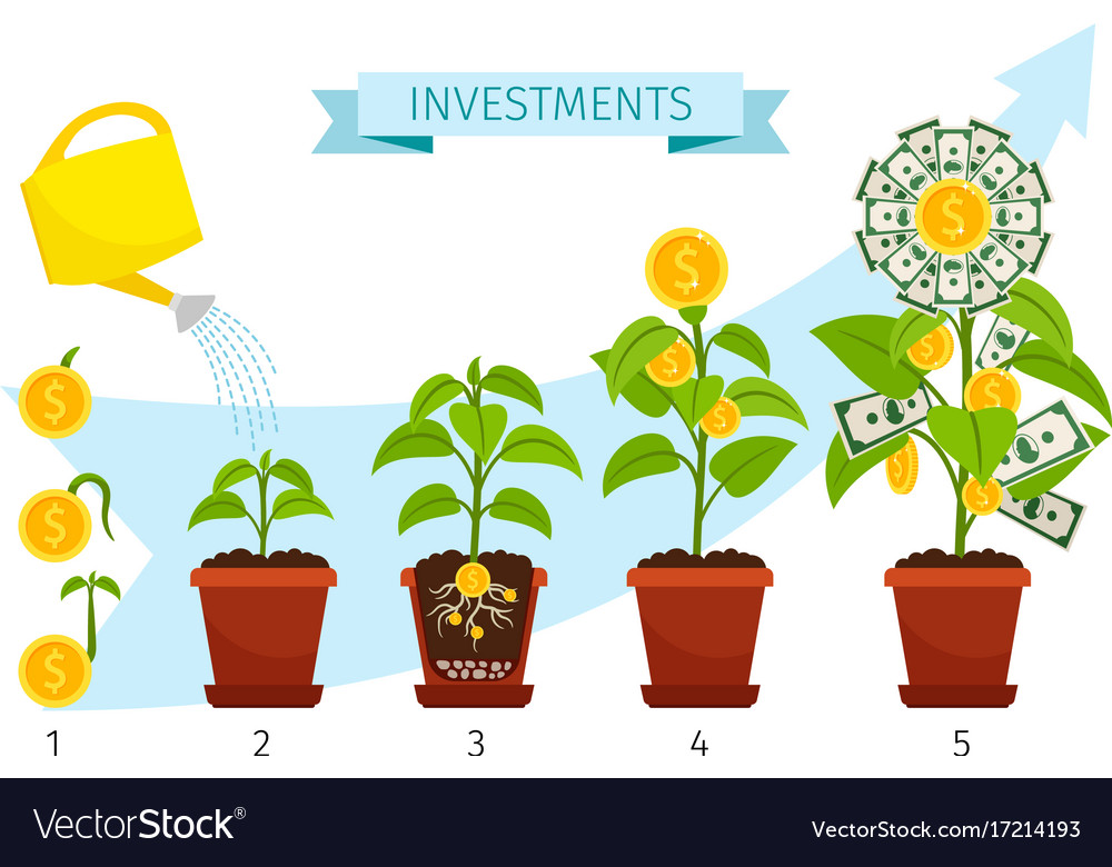 Investments process with money tree growing