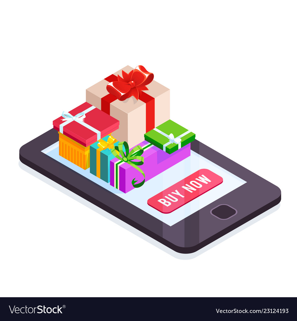 Isometric pile of gifts on the smartphone screen