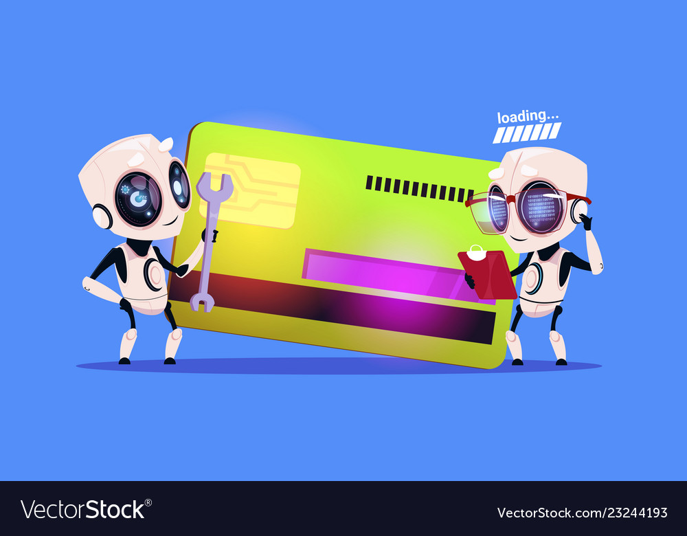 Modern robots standing over credit card reading