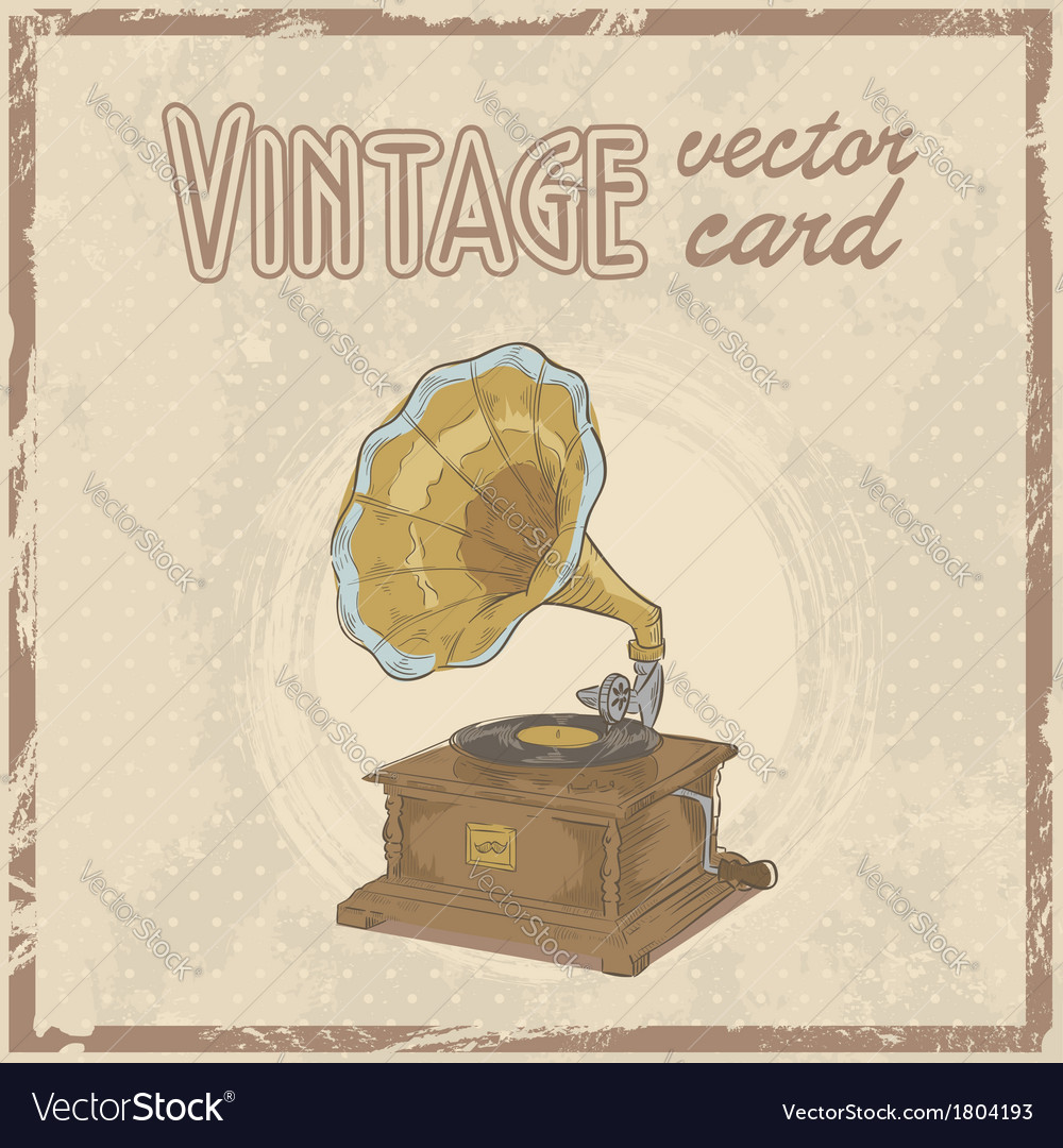 Retro 50s gramophone stylish vintage postcard