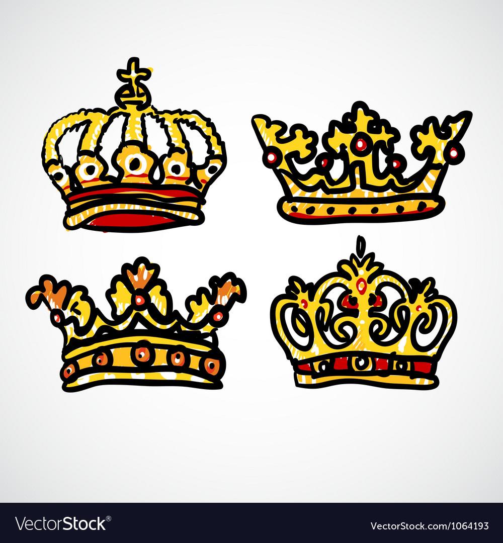 Set of doodle crowns