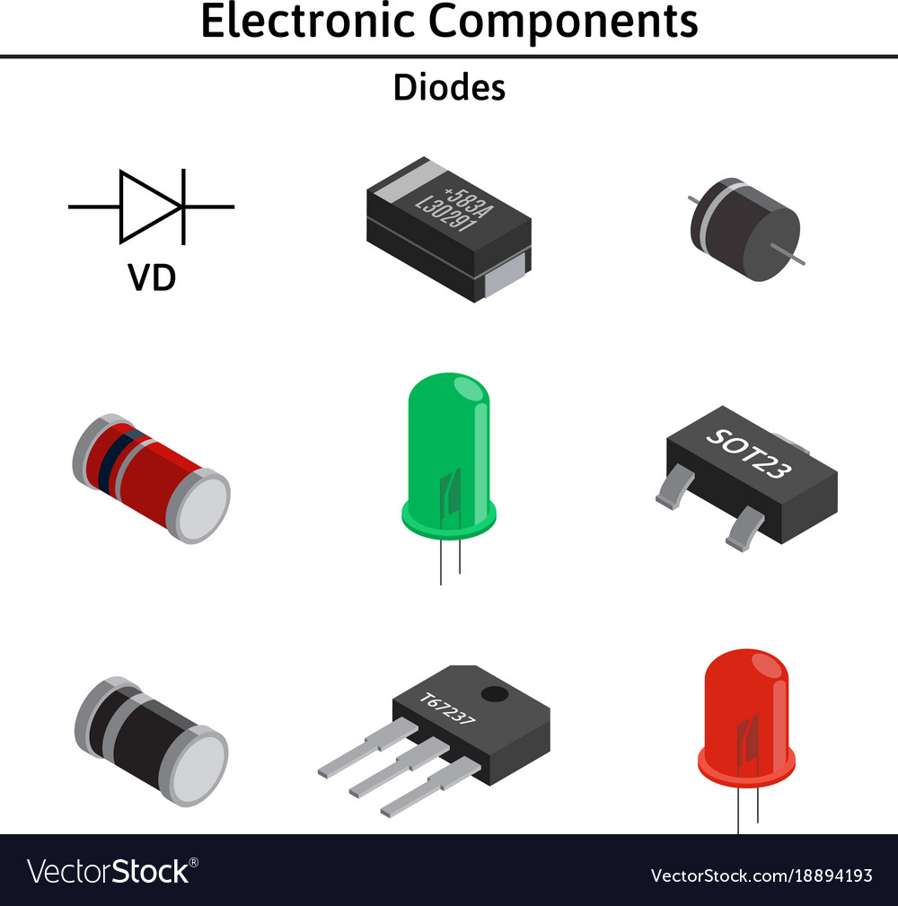 Set of izometric electronic components Royalty Free Vector