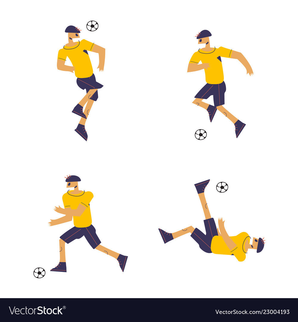 Set of soccer players in flat design style