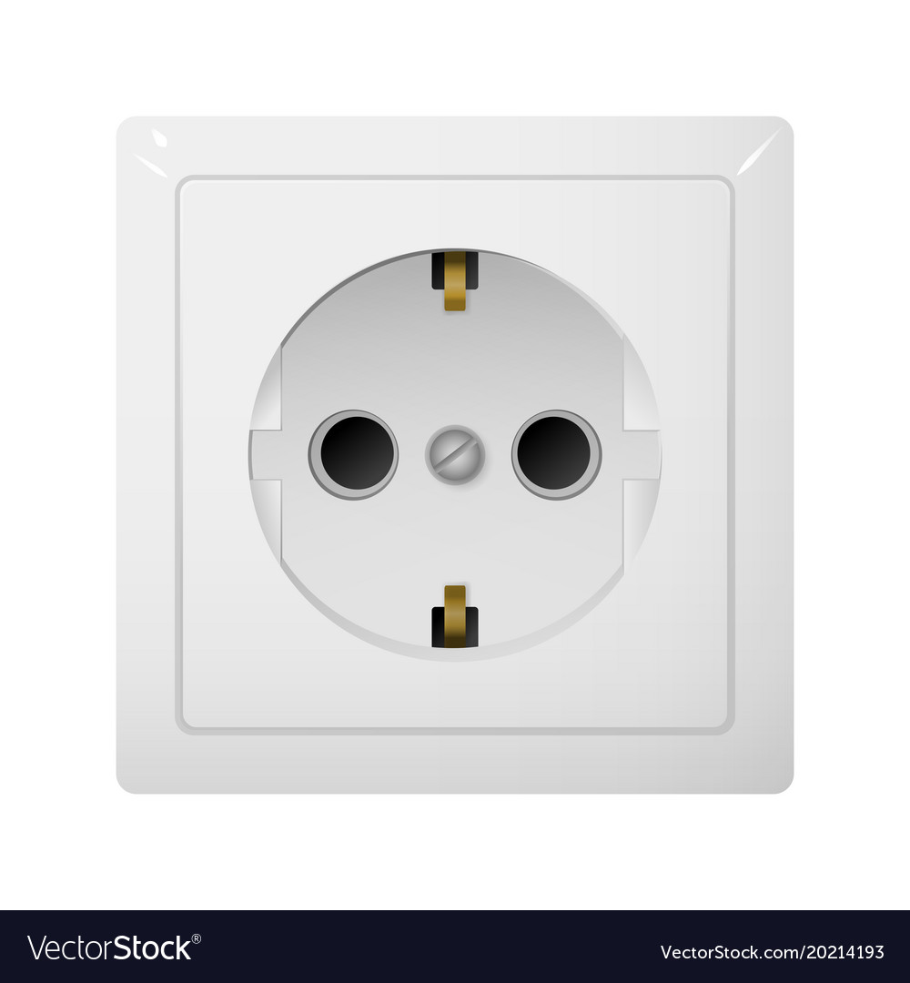 Single electrical socket type f receptacle from Vector Image