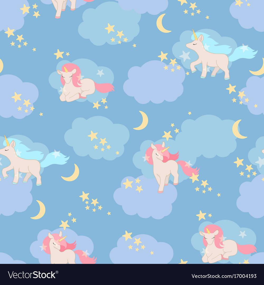Unicorns seamless pattern elements for