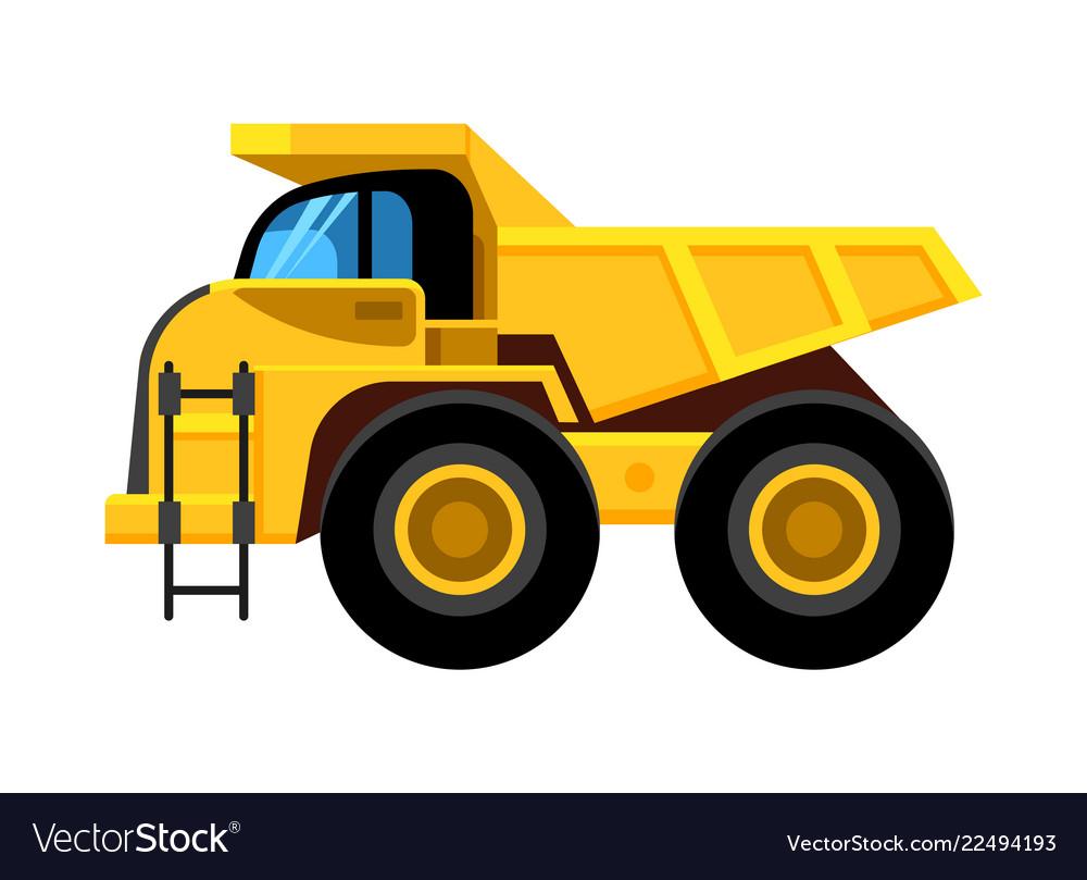 Work yellow truck big wheels construction vehicle
