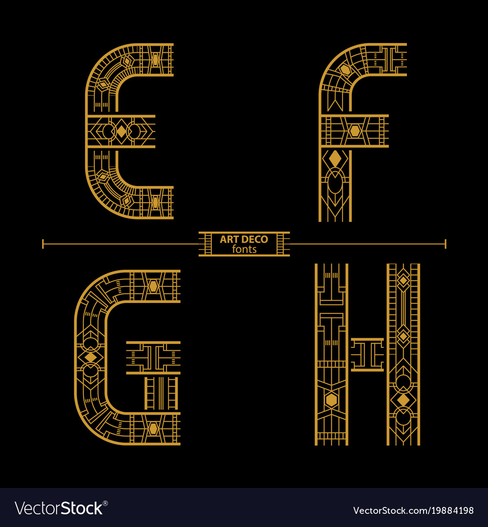 Alphabet art deco style in a set efgh