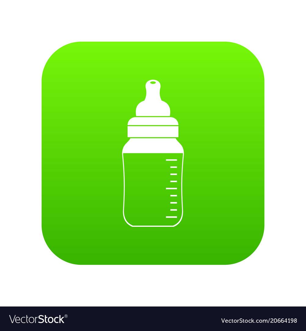 Baby milk bottle icon digital green