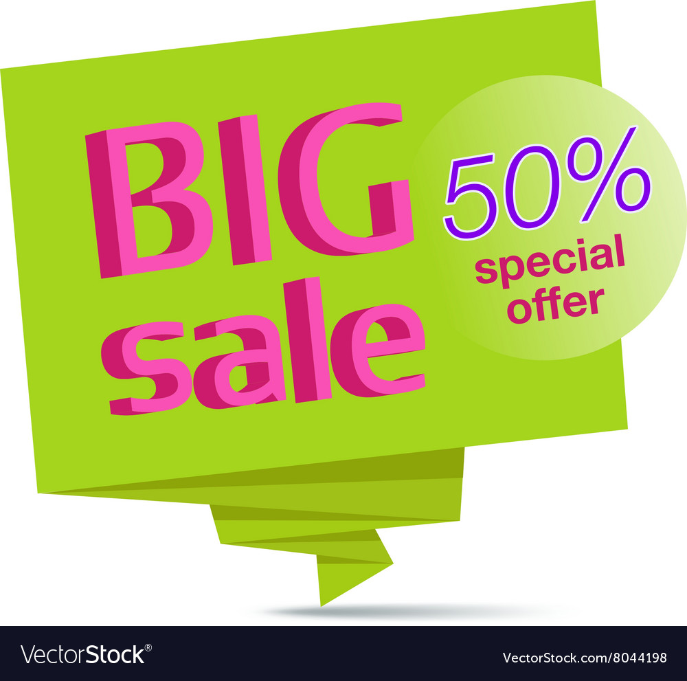 Big sale green paper banner vector image