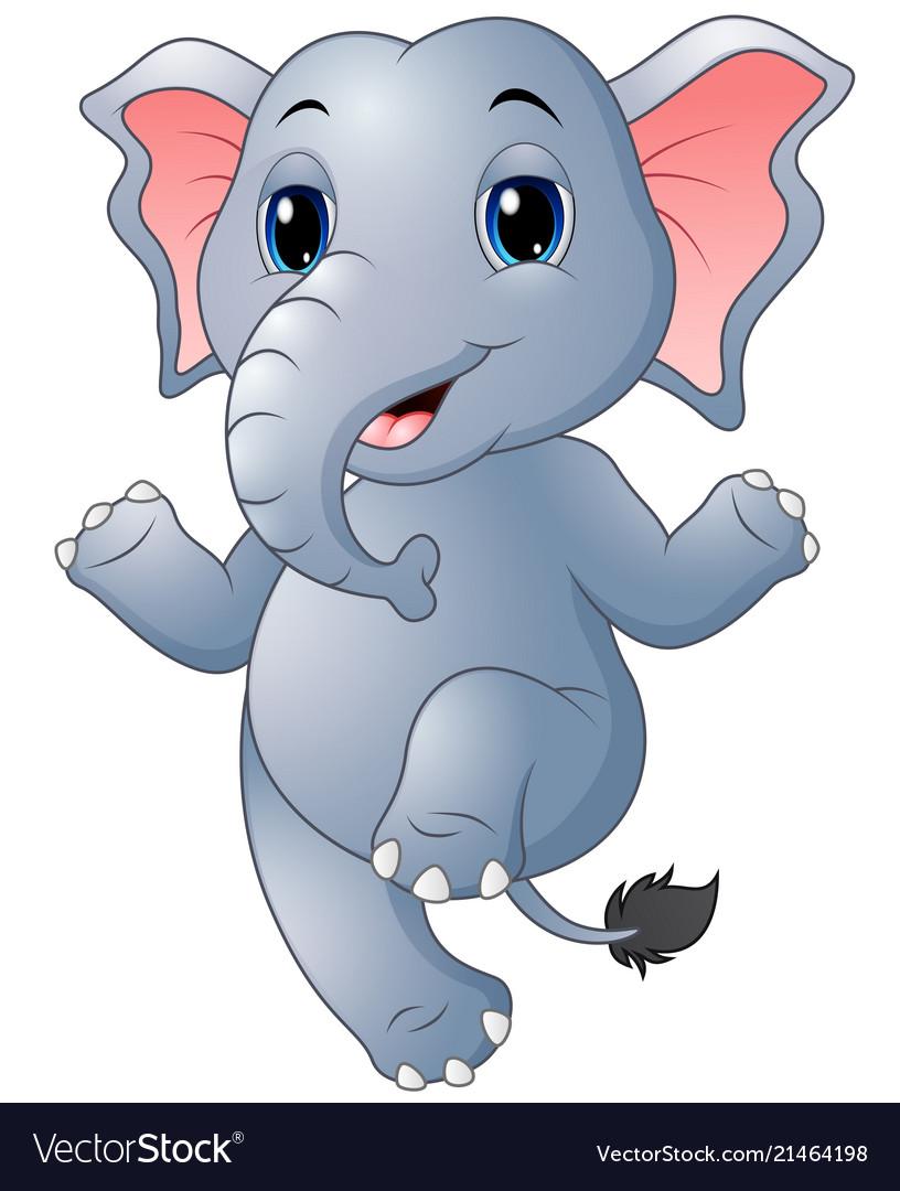 Cartoon Elephant Dancing Royalty Free Vector Image