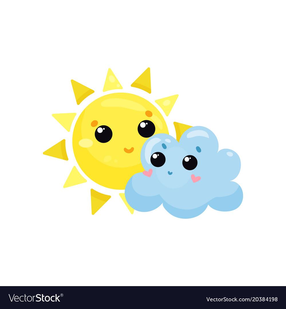 Cartoon clouds sunshine and. Yellow sun blue cloud