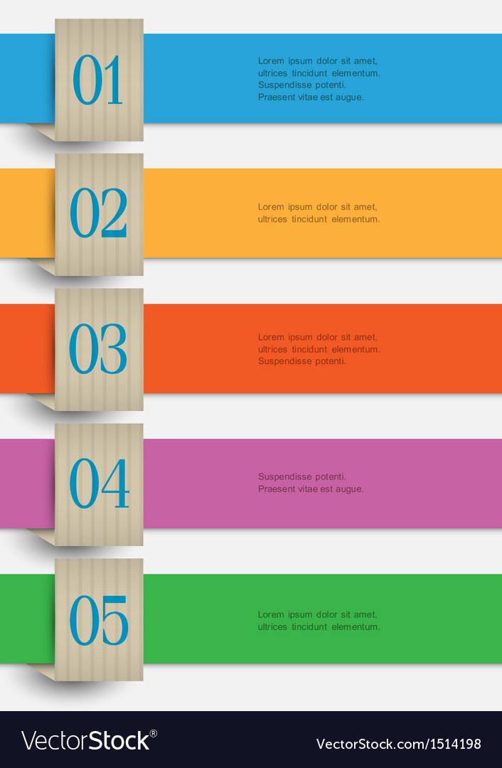 Colored paper numbered banners vector image