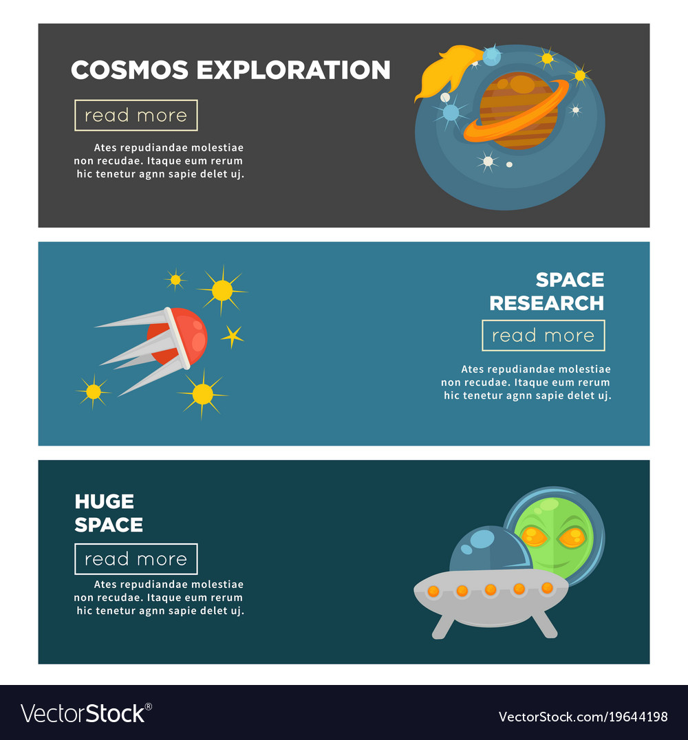 Cosmos exploration and galaxy space research flat