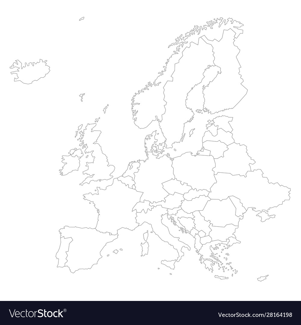 Europe Outline Silhouette Map With Countries Vector Image
