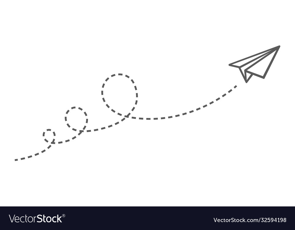 Flying paper plane with dotted lines images