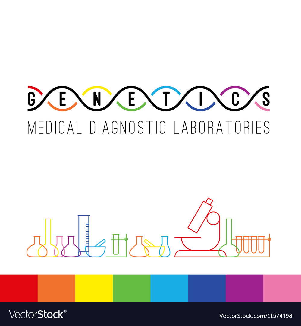Genetics logo white vector image