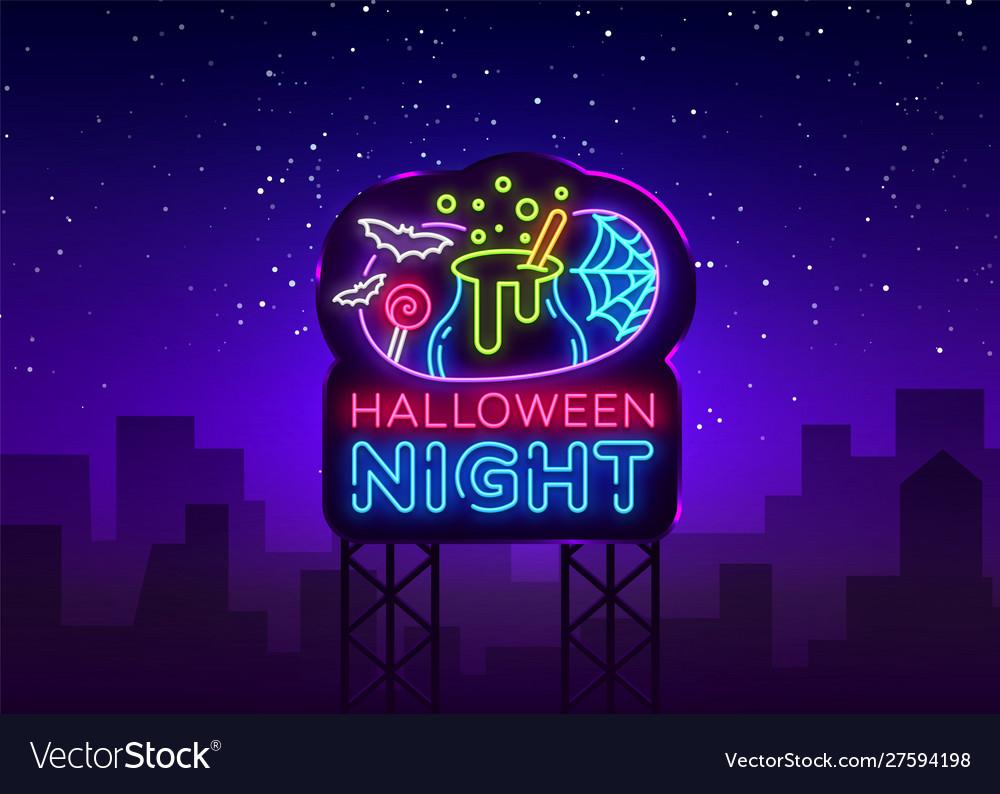 Halloween neon billboard halloween night