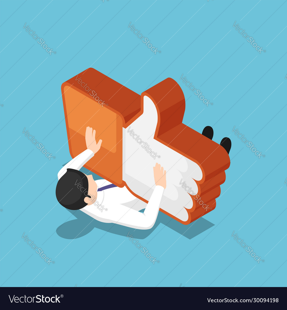 Isometric businessman being crushed like