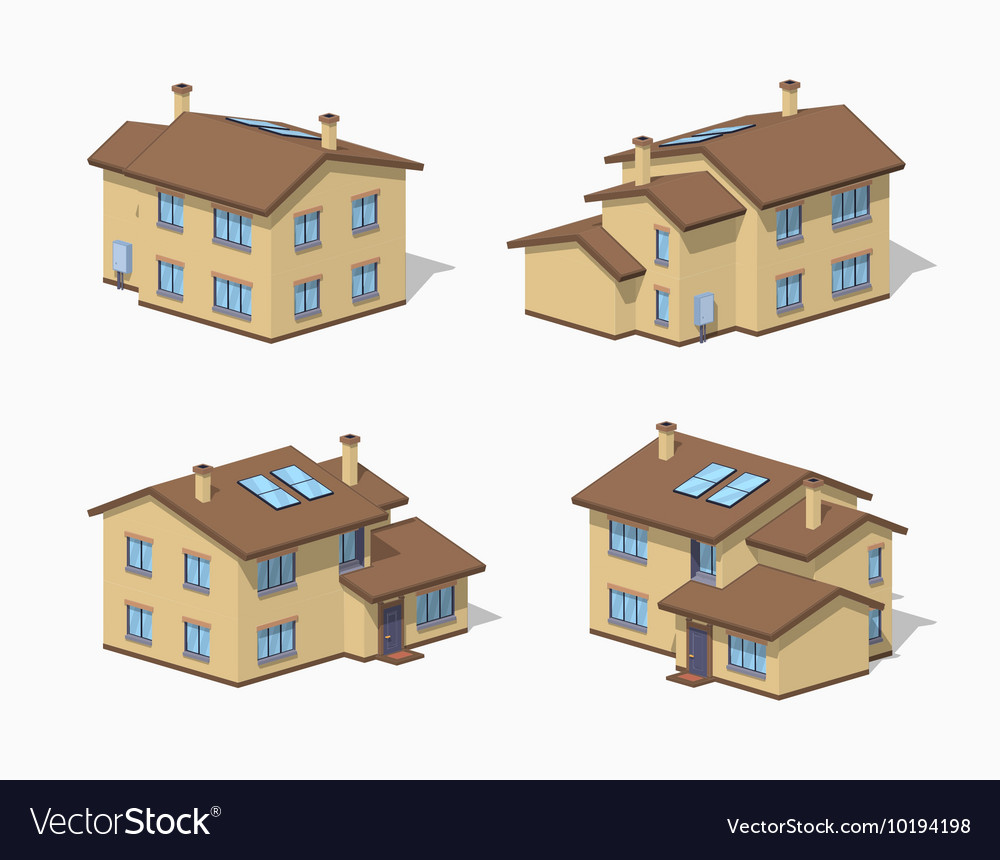 low poly suburban house royalty free vector image