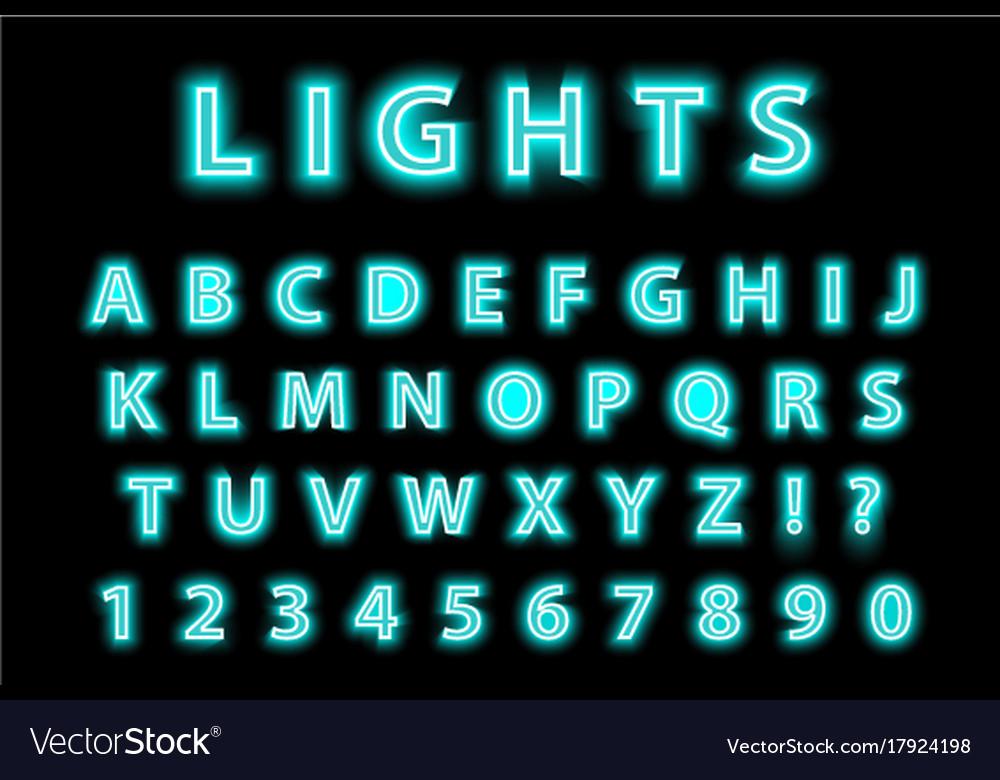 Modern trendy blue neon alphabet on a black